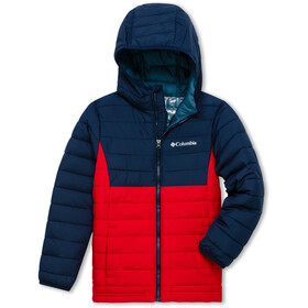 Columbia Powder Lite Kurtka z kapturem Chłopcy, mountain red/collegiate navy